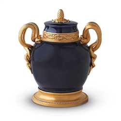 L'Objet Cobalt Blue Urn with Gold Serpents