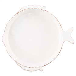 Vietri Melamine Lastra Fish White Medium Serving Bowl - MFSF-W2324