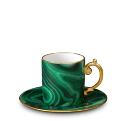 L'Objet Malachite Espresso Cup and Saucer