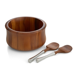 Nambe Nara Salad Bowl with Servers