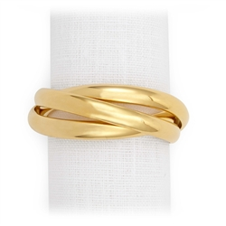 L'Objet Three Gold Plated Napkin Rings Set of 4
