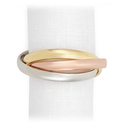 L'Objet Tricolor Napkin Rings Gold, Rose Gold and Platinum Plated Set/4