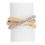 L'Objet Tri-Color Napkin Rings One w/Swarovski Crystals Set of 4