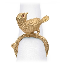 L'Objet Gold Plated Bird Napkin Rings, Swarovski Crystals Set/4