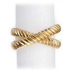 L'Objet Deco Twist Gold Plated Napkin Rings, Set/4