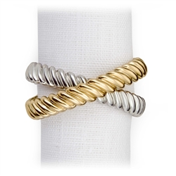 L'Objet Deco Twist Gold & Platinum Plated Napkin Rings, Set/4