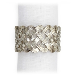 L'Objet Matte Platinum Braid Napkin Rings, Set/4