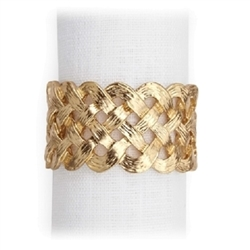 L'Objet Matte Gold Plated Braid Napkin Rings, Set/4