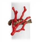 L'Objet Gold Plated Rope Napkin Rings, Enamel Coral Set/4