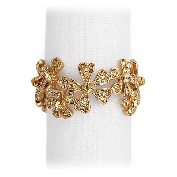 L'Objet Gold Plated Garland Napkin Rings, Yellow Swarovski Crystals Set/4