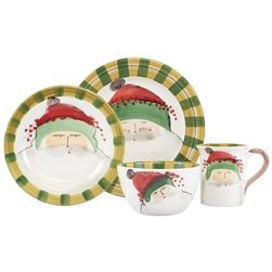 Vietri Old St. Nick Green Hat Four-Piece Service for One - OSN-7800BS-4