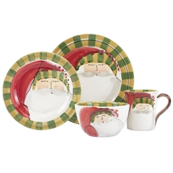 Vietri Old St. Nick Striped Hat Four-Piece Service for One - OSN-7800DS-4