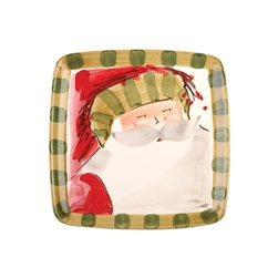 Vietri Old St Nick Square Salad Plate - Striped - OSN-7801D