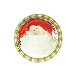 Vietri Old St Nick Round Salad Plate - Red Hat - OSN-7802A