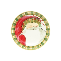 Vietri Old St Nick Round Salad Plate - Striped Hat - OSN-7802D