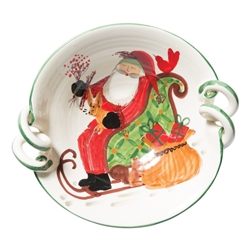 Vietri Old St Nick Scallop Handled Bowl With Sleigh - OSN-78052