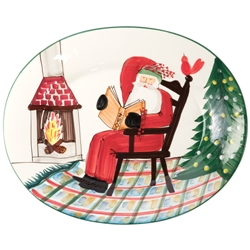 Vietri Old St Nick Large Oval Platter with Santa Reading - OSN-78058