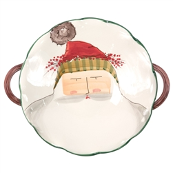 Vietri Old St Nick Scallop Handled Bowl with Face - OSN-78063