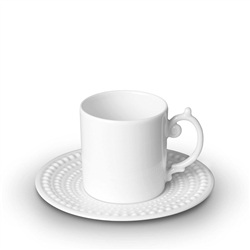 L'objet Perlee White Espresso Cup & Saucer