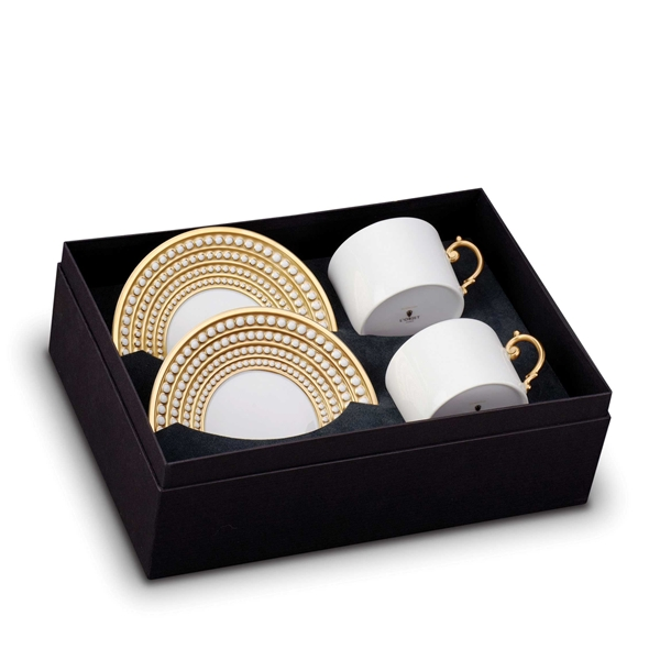 L'Objet Perlee Gold Tea Cup and Saucer Gift Box Set 2