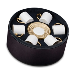 L'Objet Perlee Gold Espresso Cup and Saucer Gift Box Set of 6