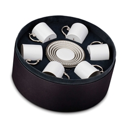 L'Objet Perlee Platinum Espresso Cup and Saucer Gift Box Set of 6