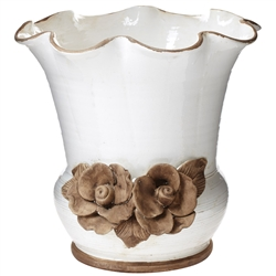 Vietri Rustic Garden White Scalloped Planter w/ Flowers