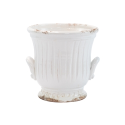 Rustic Garden White Medium Handled Cachepot