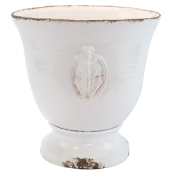 Vietri Rustic Garden White Large Footed Planter w/ Emblem