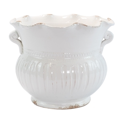 Vietri Rustic Garden White Large Scallop Planter