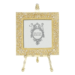 Olivia Riegel Gold Windsor 4 x 4 Frame on Easel - Chelsea Gifts