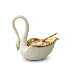 L'objet White Swan Salt Cellar w/ 14kt Gold Plated Spoon