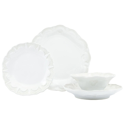 Vietri Incanto Stone White Lace 4-Piece Dinner Service for One