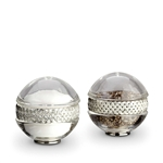 L'Objet Matte Platinum Braid Salt & Pepper Shakers Set of 2