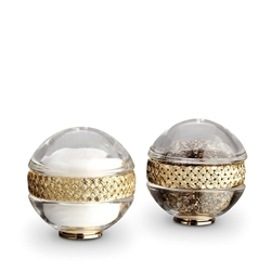 L'Objet Matte Gold Plated Salt & Pepper Shakers Braid Set of 2