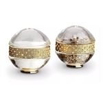 L'Objet Gold Band w/Yellow Crystal Salt & Pepper Shakers Set/2