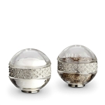 L'Objet Platinum Band w/Clear Crystal Salt & Pepper Shakers Set/2