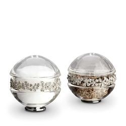 L'Objet Platinum Garland Salt & Pepper Shakers w/Swarovski Crystals Set of 2