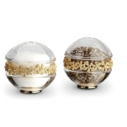 L'Objet Gold Plated Garland Salt & Pepper Shakers w/Swarovski Crystals Set of 2