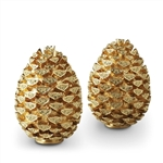 L'Objet Gold Plated Pinecone Salt & Pepper Shakers w/Swarovski Crystals Set of 2