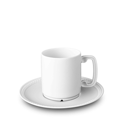 L'Objet Soie Tressee White Espresso Cup and Saucer