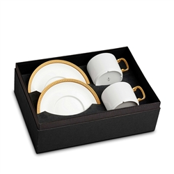L'Objet Soie Tressee Gold Tea Cup and Saucer Gift Box