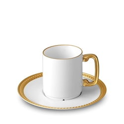 L'Objet Soie Tressee Gold Espresso Cup and Saucer