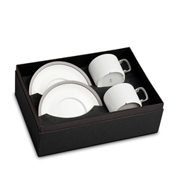 L'Objet Soie Tressee Platinum Tea Cup and Saucer Gift Box
