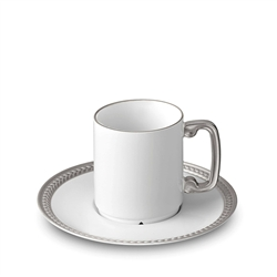 L'Objet Soie Tressee Platinum Espresso Cup and Saucer