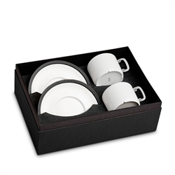 L'Objet Soie Tressee Black Tea Cup + Saucer Gift Box of 2