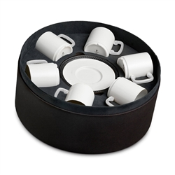 L'Objet Soie Tressee Black Espresso Cup + Saucer  Gift Box of 6