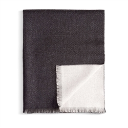 L'Objet Baby Alpaca Wool Double Face Throw Black + White