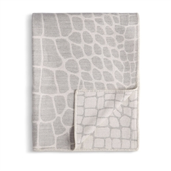 L'Objet Crocodile Jacquard Throw - Ecru + Grey