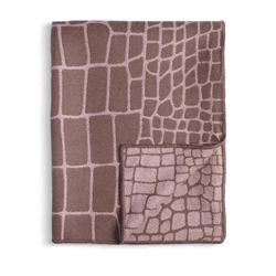 L'Objet Crocodile Jacquard Throw - Mauve + Taupe